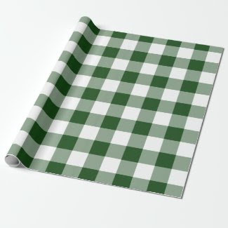 Green and White Gingham Pattern Gift Wrap
