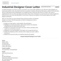 Junior Product Design Cover Letter