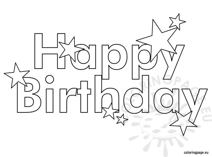 Happy Birthday with stars coloring - Coloring Page