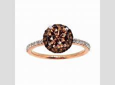 1 Carat Brown Diamond Floating Halo Rose Gold, White & Brown Diamond Engagement Ring, Solitaire