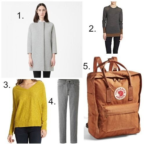 COS Jersey Coat - Marc by Marc Jacobs Sweater - Eileen Fisher Sweater - Uniqlo Ultra Stretch Ankle Jeans - Fjällräven Kånken Backpack