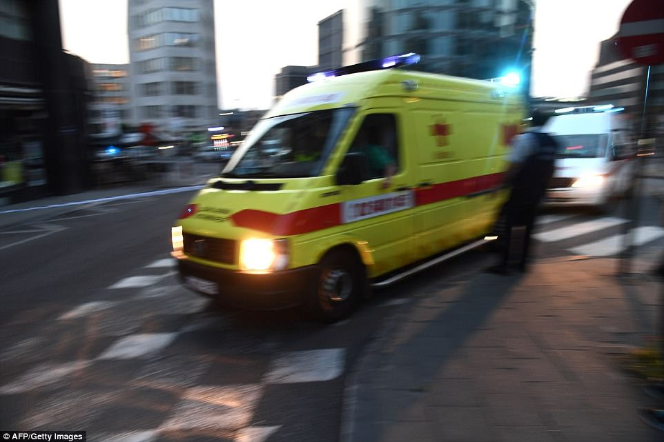 Ambulances hurtled to the scene outside the busy train station on Tuesday night after reports of the explosion at 8pm