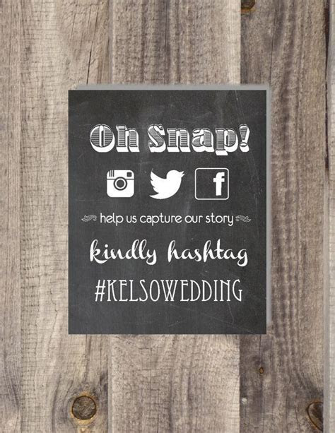 PRINTABLE & CUSTOMIZABLE Instagram Hashtag sign Photo