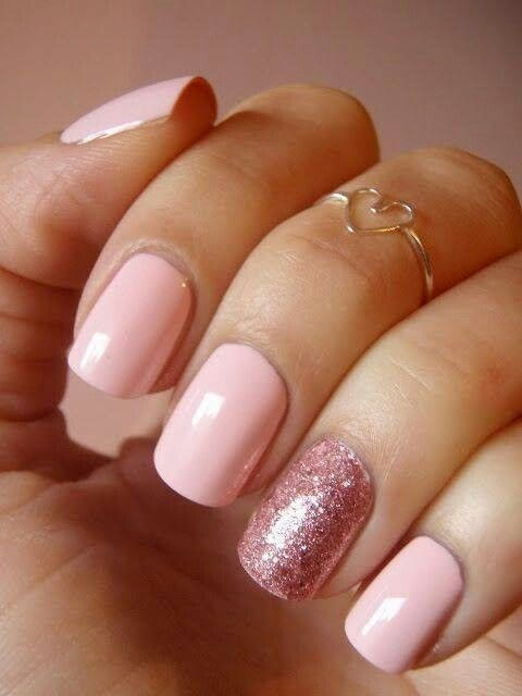 .Pinkit kynnet | Pink nails with glitter