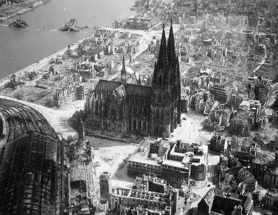 The Koln Cathedral during WWII.