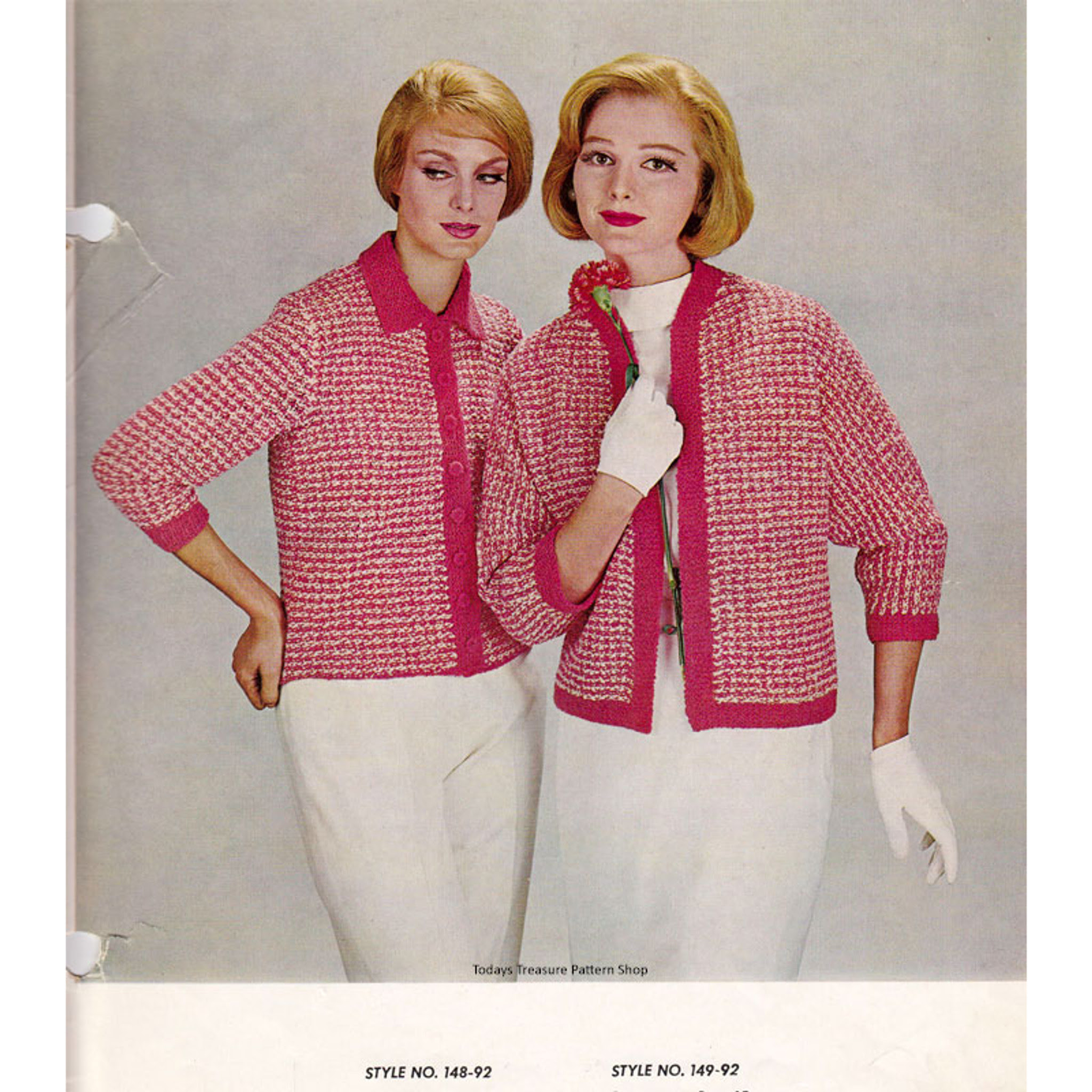 Red White Knitted Jackets Pattern