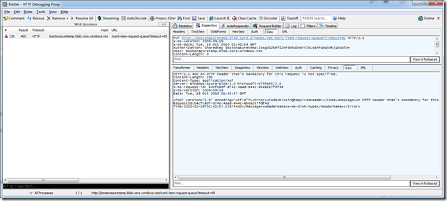 "Screen shot mentioning ""Server: Windows-Azure-Blob/1.0 Microsoft-HTTPAPI/2.0"" and ""<HeaderName>x-ms-blob-type</HeaderName>"""
