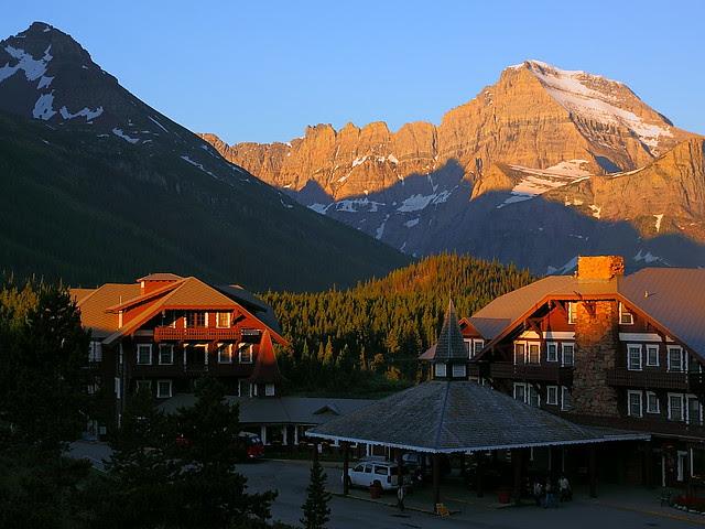 IMG_0539 Many Glacier Hotel and Mount Gould, Sunrise, Glacier National Park