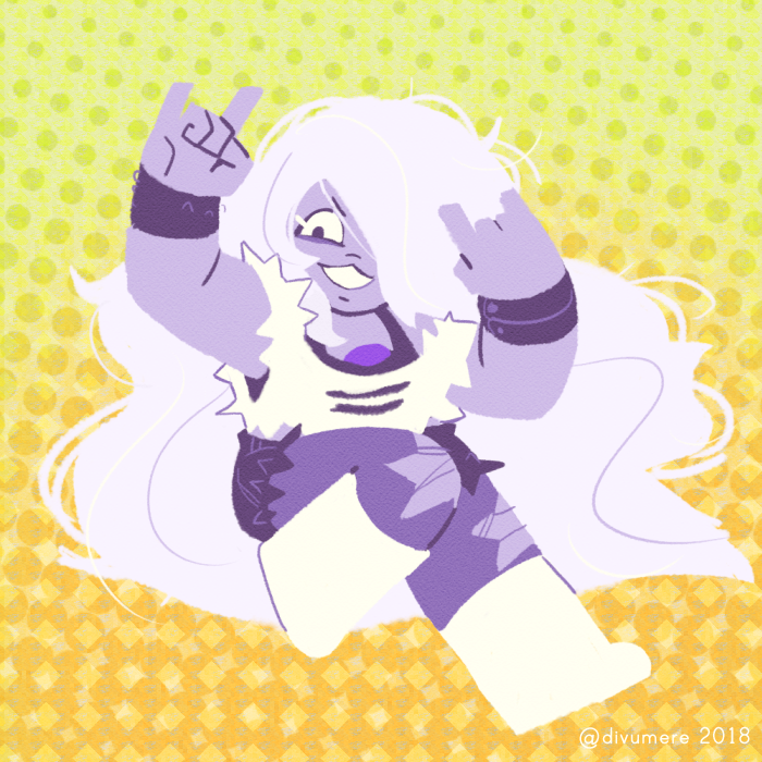 amethyst! i love drawing her godiva hair all over the place, but it always means that i have to keep expanding the canvas lmao