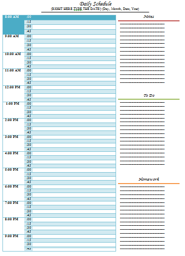 Daily Schedule Template – 5 Free Templates | Schedule Templates