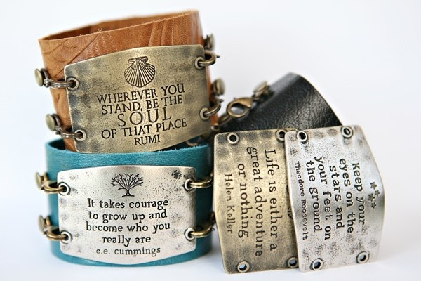 stamped metal & leather cuffs