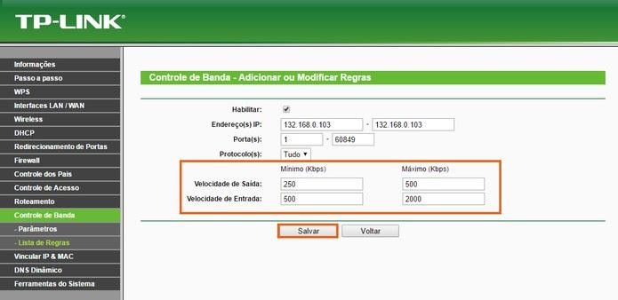 Adicione a velocidade mínima e máxima de upload e download para a máquina (Foto: Reprodução/Barbara Mannara)