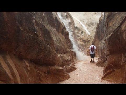 Slot canyon flash flood