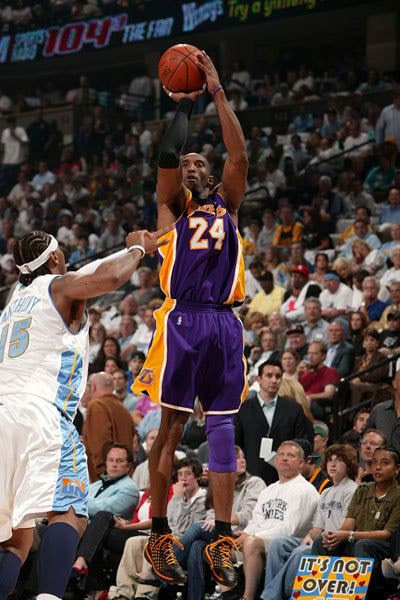Kobe Bryant of the Las Angeles Lakers takes a shot against the Denver Nuggets on April 28, 2008 at the Pepsi Center in Denver, Colorado.