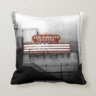 Vintage Los Angeles Theatre Sign Pillow