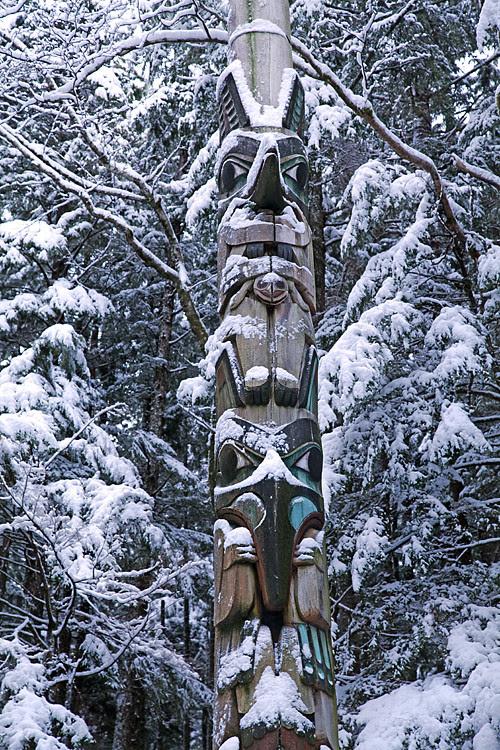 snowy totem, Totems Historic District, Kasaan, Alaska