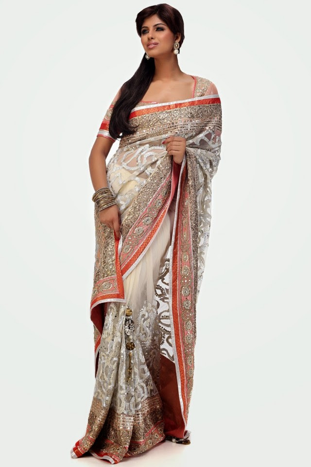 43042a2045 Bridal-Wedding-Formal-Casual-Party-Wear-Sarees-Dress- Off White Sari
