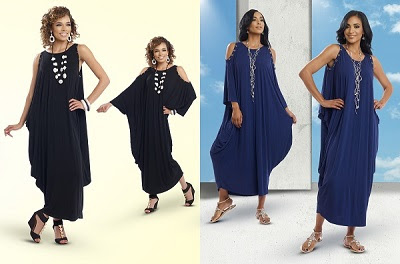 The most versatile style of the season. This convertible caftan dress from Tesoro Moda can be worn as a Cold Shoulder style with sleeves or as a Sleeveless Tank style. Rhinestones add a little sparkle. The soft knit fabric is a RayonSpandex blend in Class