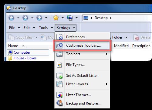 Settings, Customize Toolbars menu