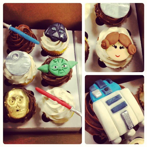 Birthday boy @JohnBiehler went for the dark side first. Tasty awesome Star Wars cupcakes #FTW