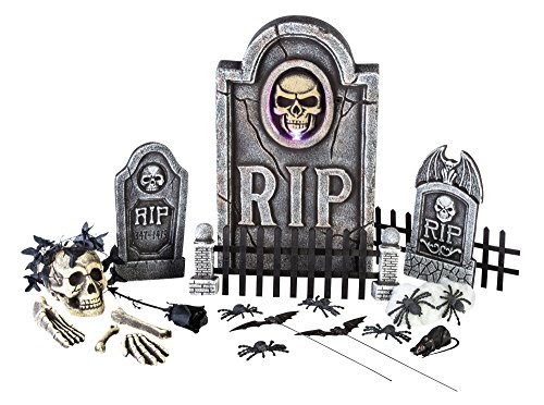 Morbid Enterprises Boneyard 25 Pieces Graveyard Kit Halloween Decor, Multi, One Size