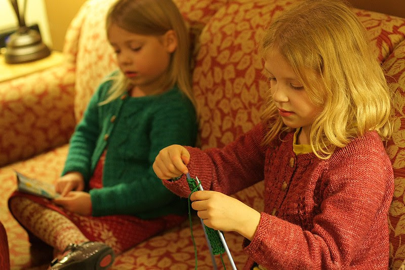 evening knitting in temporary lodging
