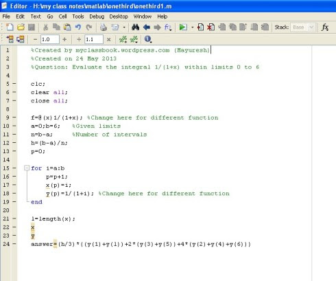 MATLAB code for Simpson's one third rule
