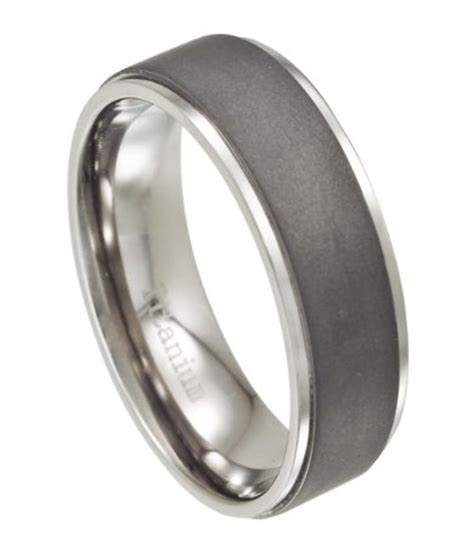 titanium mens wedding ring  matte finish