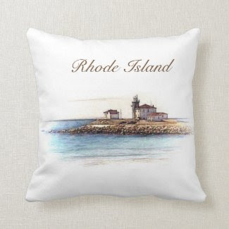 Rhode island lighthouse pillow customisable text