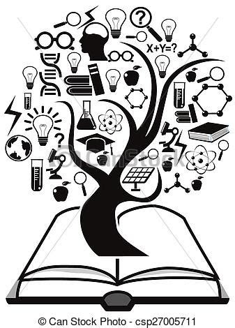 isolated black education icons tree   book  white