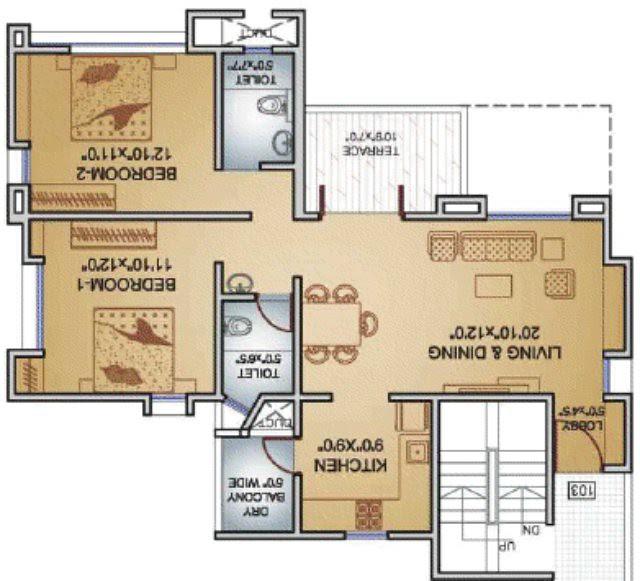 Teerth Towers 2 BHK Flat 783 Carpet+DryBalcony+Terrace