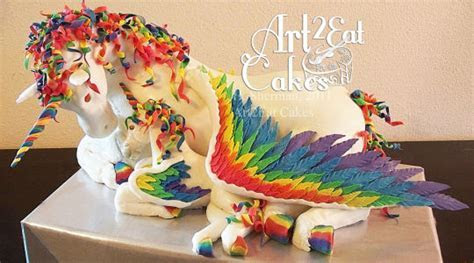 Rainbow Pegacorn Mama and Baby   cake by Heather  Art2Eat