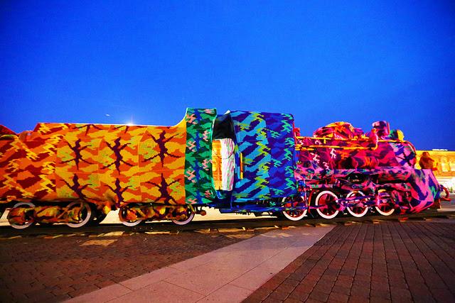 Olek Crochets an Entire Four Car Locomotive in Lodz, Poland yarn bombing trains textiles crochet
