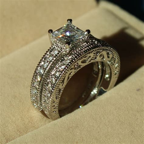 Vintage Jewelry Topaz Diamonique Cz 10KT White Gold Filled