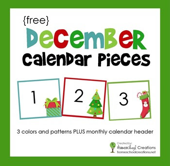 Pocket Chart Calendar Cards for the month of December