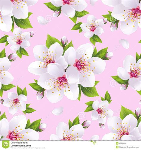 Beautiful Seamless Pattern Pink With Sakura Blossom Stock