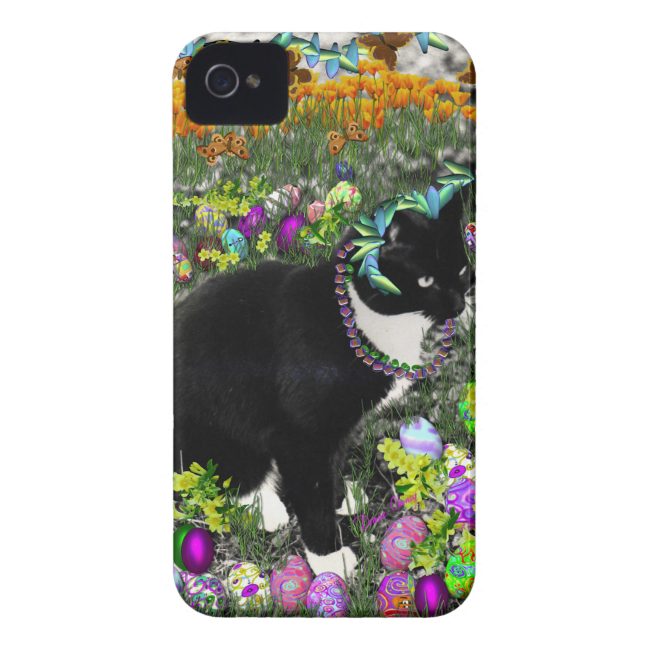 Freckles, Tux Cat, in the Hunt for Easter Eggs Case-Mate iPhone 4 Case