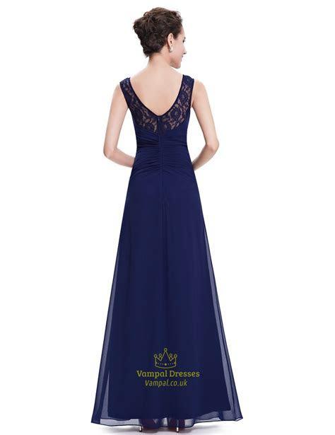 Elegant Navy Blue Chiffon Bridesmaid Dresses Lace Top