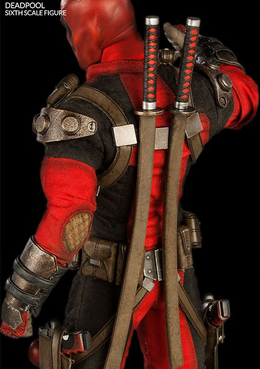 Back of Sideshow Exclusive Deadpool Figure Swords Sheathe
