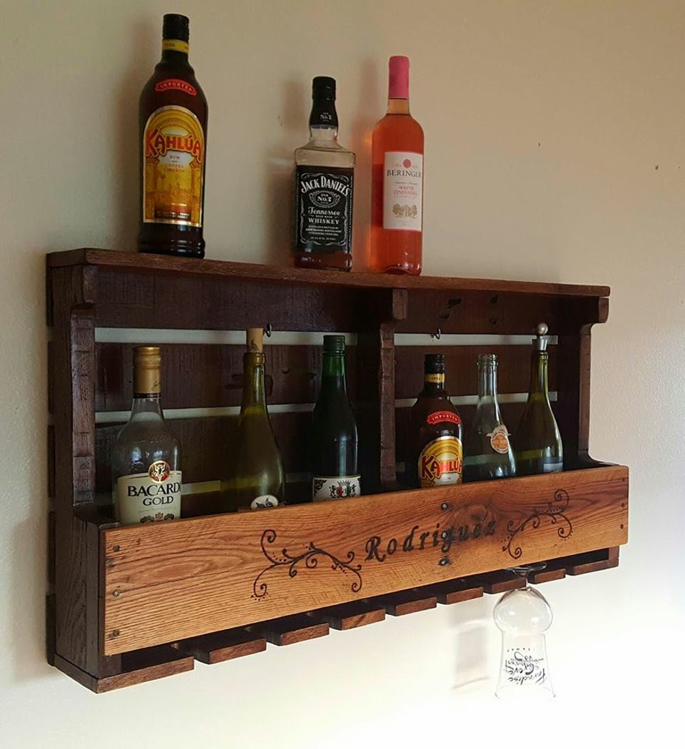 Pallet Rustic Wine Rack in Wood Burned Design | Pallet Ideas ...