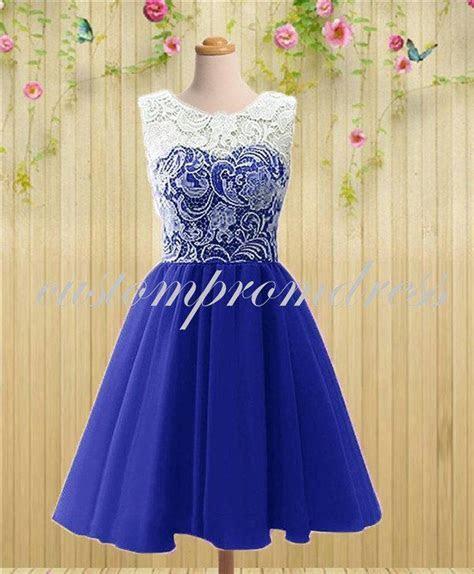 Royal Blue Short Prom Dress, White/Ivory Lace Prom Dress