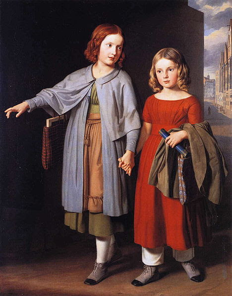 The Artist's Daughters On The Way To School