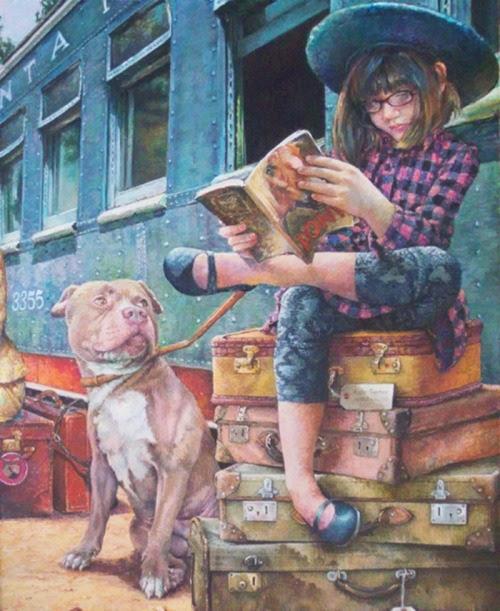 Travel, always with books / Viajar, siempre con los libros (ilustración de Susan Brabeau)