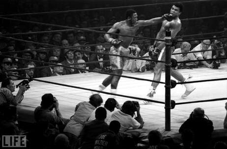 Muhammad Ali dodges a hook thrown by Joe Frazier. Although Ali lost the match, he proved his stamina by standing through 15 rounds.