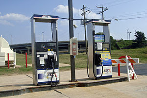 Biofuel pumps (B20, left, and E85, right) at a...