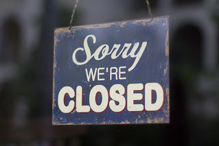 "Restaurant's ""Sorry we're Closed"" sign"