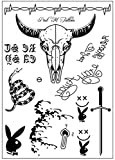 #8: morlipt Post Malone Inspired Face Temporary Tattoos Sheet for Halloween Costume Accessories and Parties
