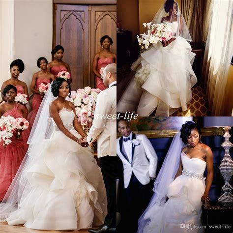 2016 Nigerian Wedding Dresses Ball Gown Strapless Princess