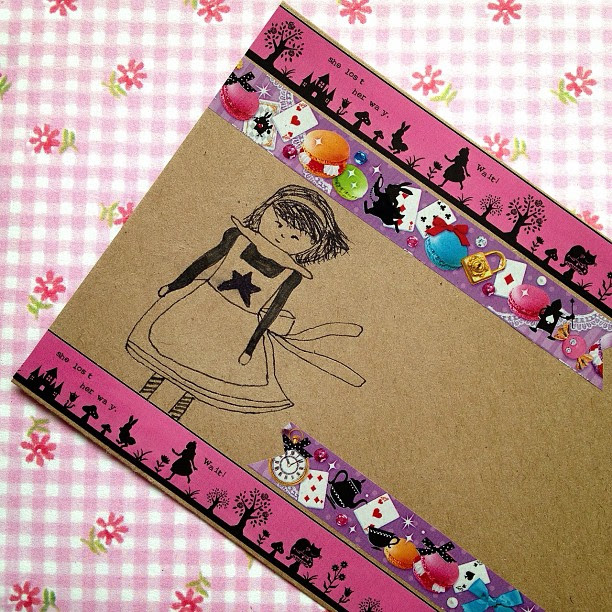 To go with the postcard I posted before this #aliceinwonderland #envelope #snailmail #decotape #silhouette #teaparty