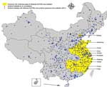 Thumbnail of Geographic distribution of national influenza surveillance sentinel hospitals in Beijing and Shanghai Municipalities and 8 provinces with confirmed human cases of avian influenza A(H7N9) virus infection, China, 2013.